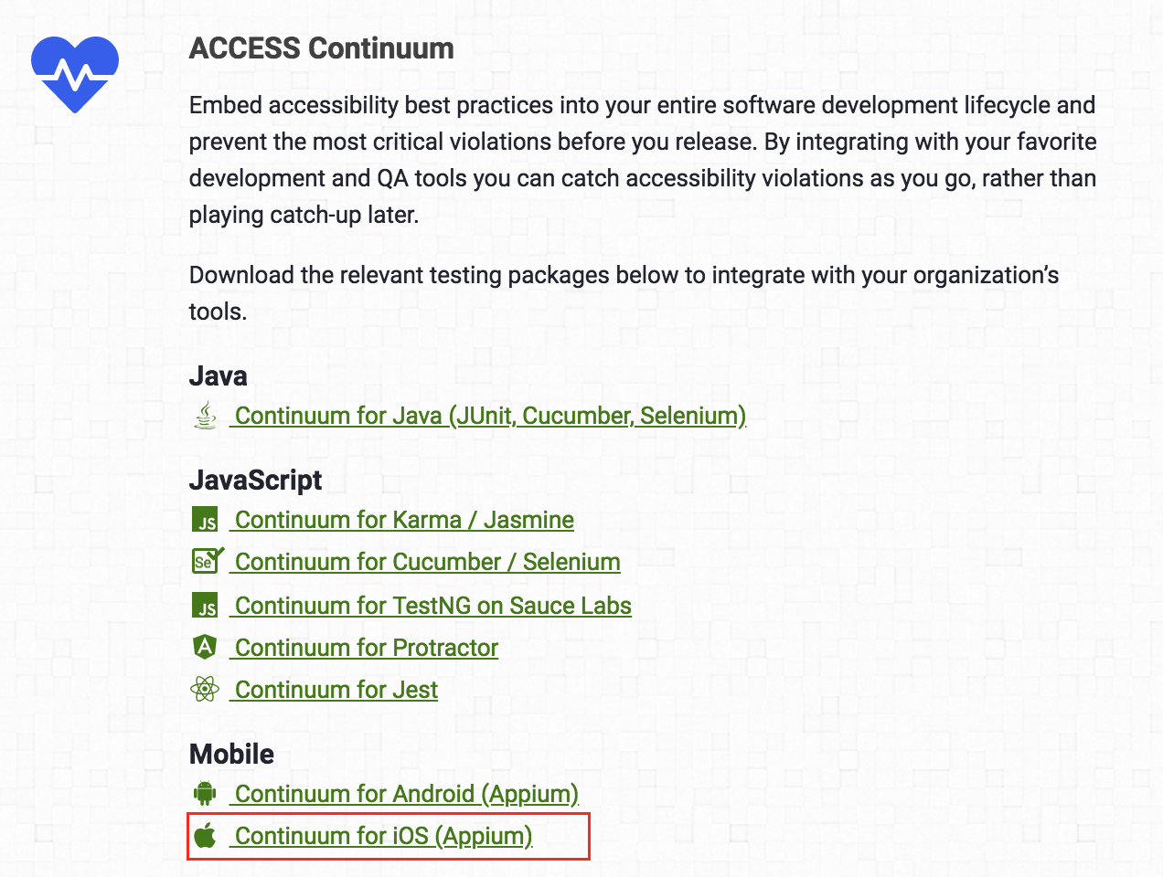 Continuum for iOS download in AMP Toolbox
