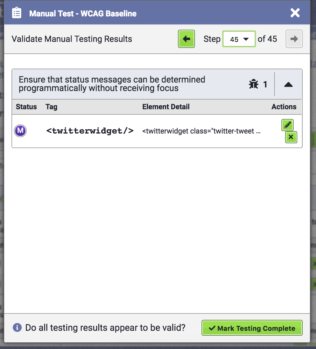 Manual Testing Validation screen