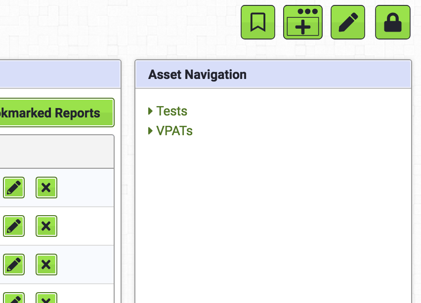 Tests link on the Assets dashboard