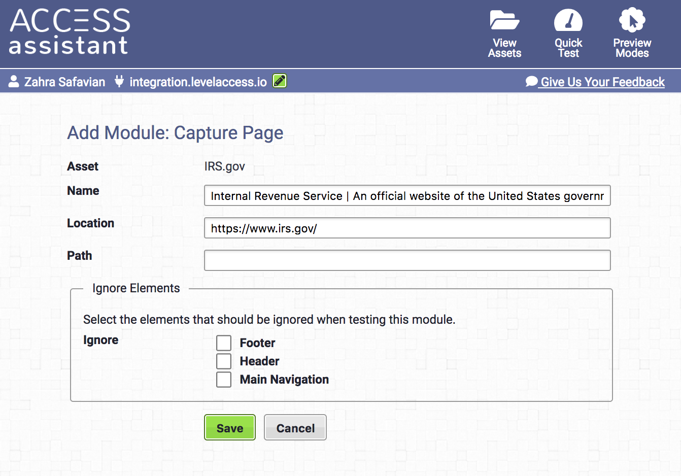 Capture Module function in Access Assistant