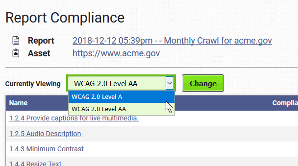 Screenshot of the standard selection menu in the compliance section