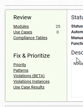 Screen shot of the report navigation options