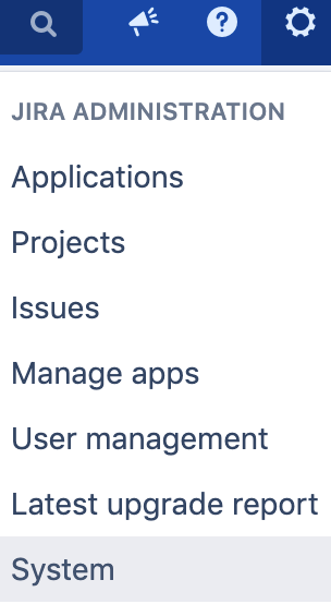 Jira Left Hand Nav Gear Icon Screenshot
