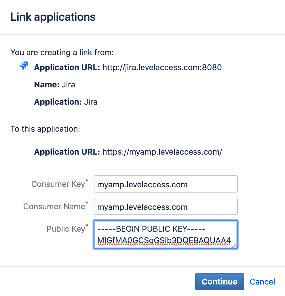 Jira Link Applications Public Key Screenshot
