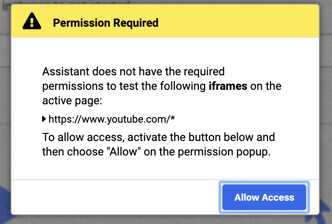 Example of the browser alert requiring a user to allow usage of the all_urls permission