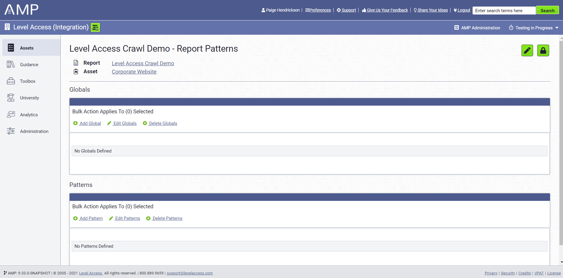 Report Patterns Page
