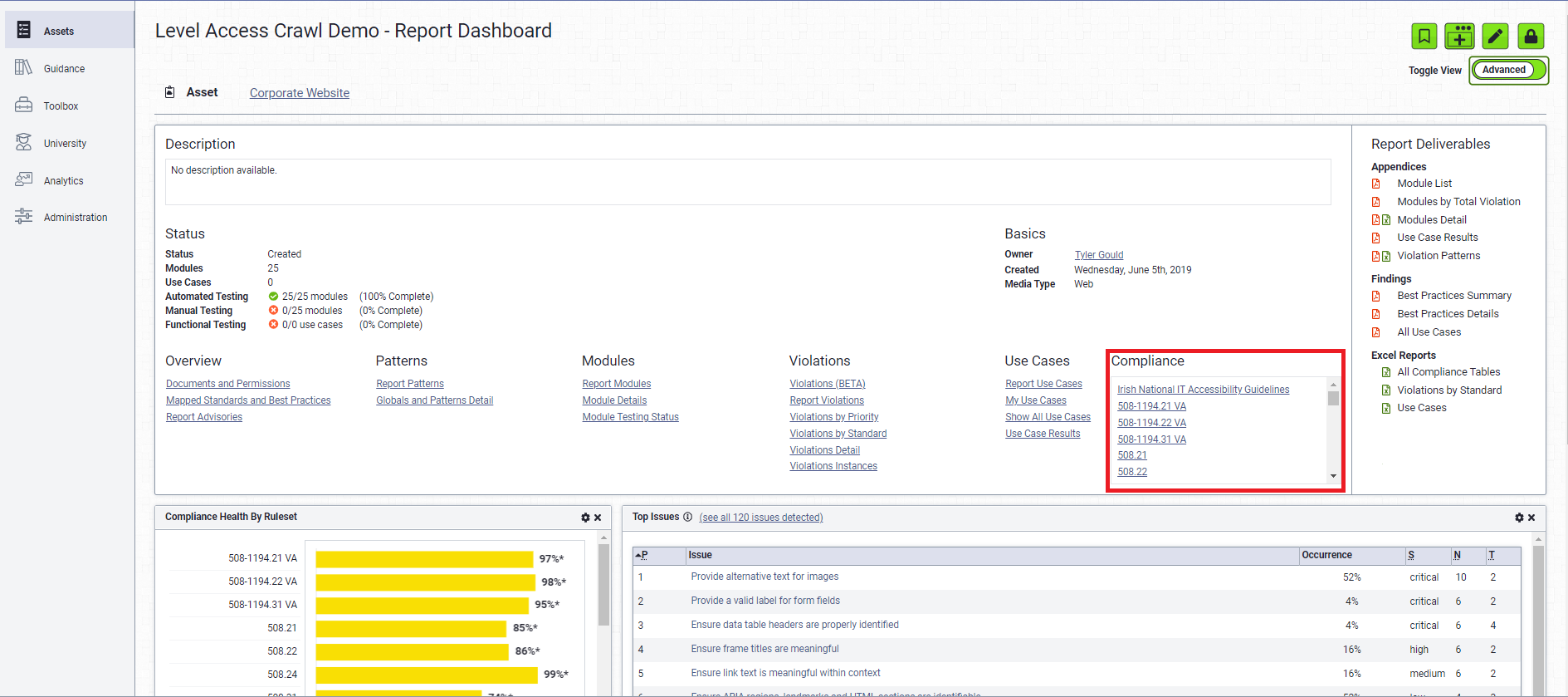Report Advanced view with Compliance Options highlighted